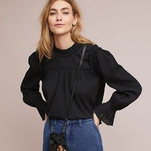 Anthropologie Ruffled Bell-Sleeve Blouse
